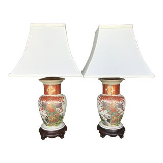 Vintage Chinoiserie Asian Painted Lamps-A Pair For Sale