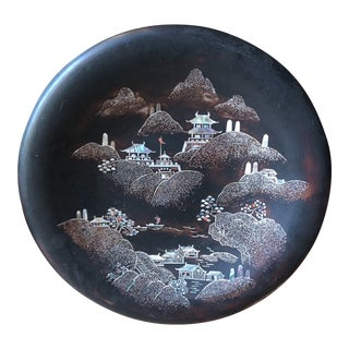 Metal Base Chinoiserie Asian Plate For Sale