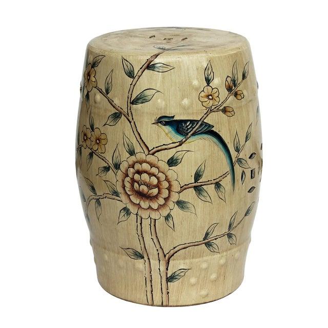 Handmade Beige Porcelain Bird Flower Round Stool Ottoman - Image 4 of 7