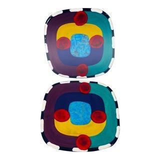 Vintage 1980s Memphis Ceramic Geometric Stoneware Plates - a Pair For Sale
