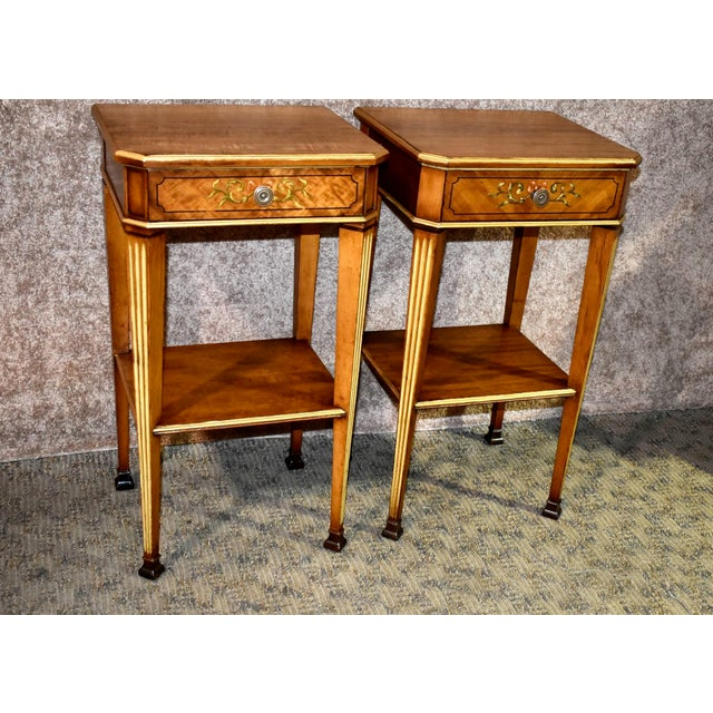1940s Antique French Satinwood Side Tables with Painted Designs - a Pair For Sale - Image 5 of 13