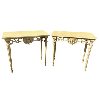 A Pair of Hollywood Regency Hand Painted Italian Console Tables For Sale