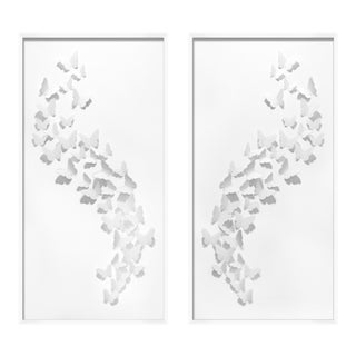 White Butterflies Cut Out Art - a Pair For Sale
