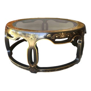 Drexel Heritage Chinoserie Lacquered Burl and Glass Top Coffee Table For Sale