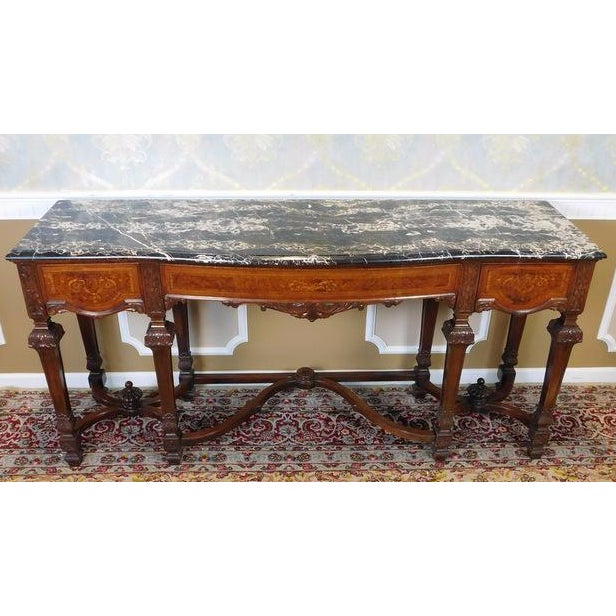 Italian Rococo Carved Mahogany Marble Top Console - Image 4 of 10