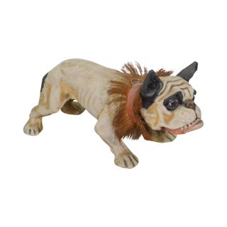 "French ""Growler"" Antique Paper Mache Nodding Head Bulldog Pull Toy"