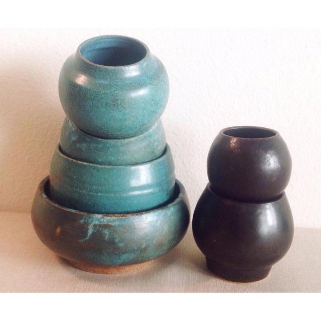 Asian Boho Chic Modern Black Sphere Stoneware Vase/Planter For Sale - Image 3 of 8