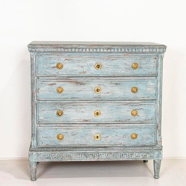 Farmhouse Large Antique Blue Painted Chest of Drawers From Sweden For Sale - Image 3 of 13