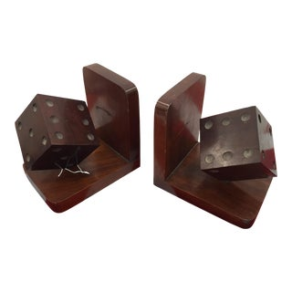 Antique Wooden Deco Style Dice Bookends - Pair For Sale