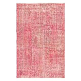 "Turkish Overdyed Pink Rug - 6'1"" x 9'6"" For Sale"