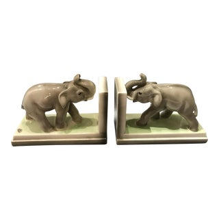 20th Century Art Deco Goldscheider Wien Porcelain Elephant Bookends - a Pair For Sale