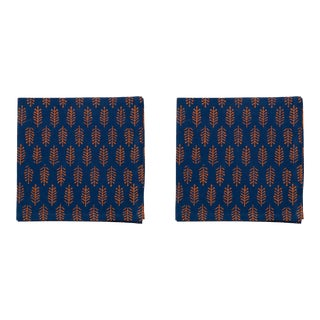 Fern Napkins, Teal & Orange - A Pair For Sale