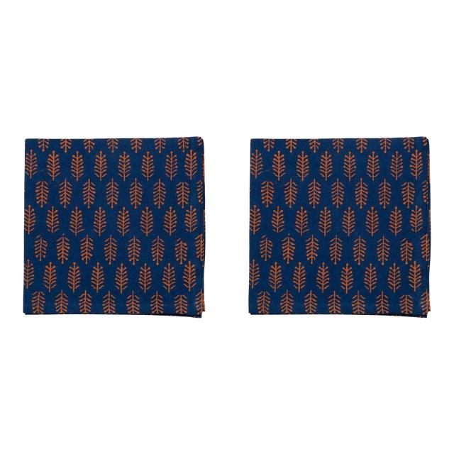 Fern Napkins, Teal & Orange - A Pair For Sale