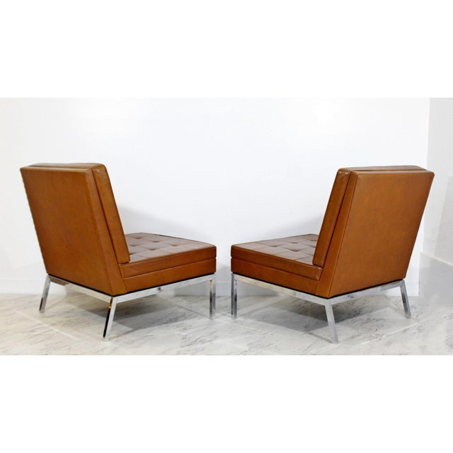 Mid Century Modern Pair Vintage Knoll Chrome Leather Slipper Chairs Model #65 For Sale In Detroit - Image 6 of 10