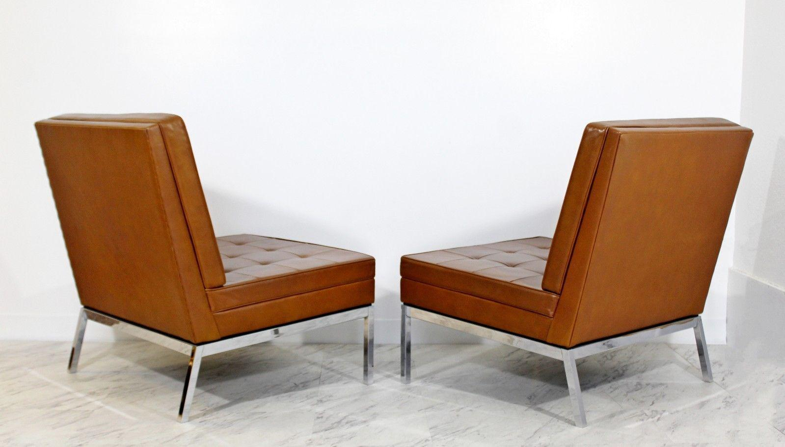 Mid Century Modern Pair Vintage Knoll Chrome Leather Slipper Chairs Model  #65   Image 6
