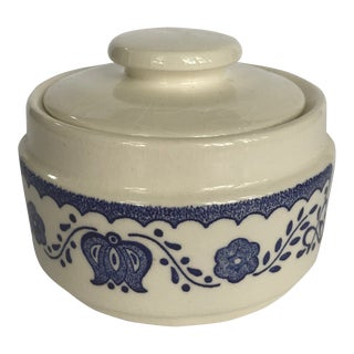 Mid 20th Century Vintage Blue and White Ceramic Lidded Dish For Sale