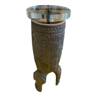 Marquesa Islands Carved and Hollowed Wood Side Table For Sale