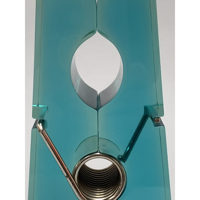 Metal Oversized Teal Lucite Clothespin Paperweight or Paper Holder For Sale - Image 7 of 13