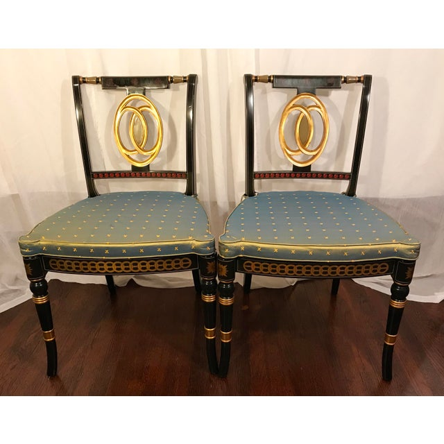 Early 20th Century Hand Painted Black Lacquered Regency Chairs- a Pair For Sale - Image 11 of 11