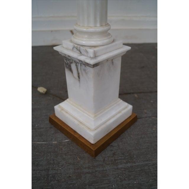 Italian Carrara Marble Corinthian Column Lamps - Pair For Sale - Image 3 of 10