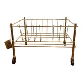 Image of Vintage Brass Faux Bamboo Rolling Record Rack For Sale