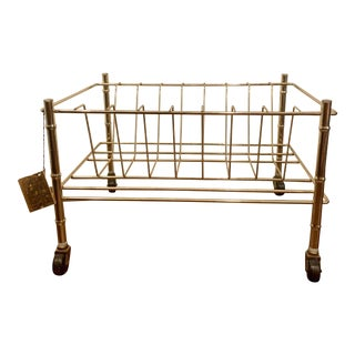 Vintage Brass Faux Bamboo Rolling Record Rack For Sale