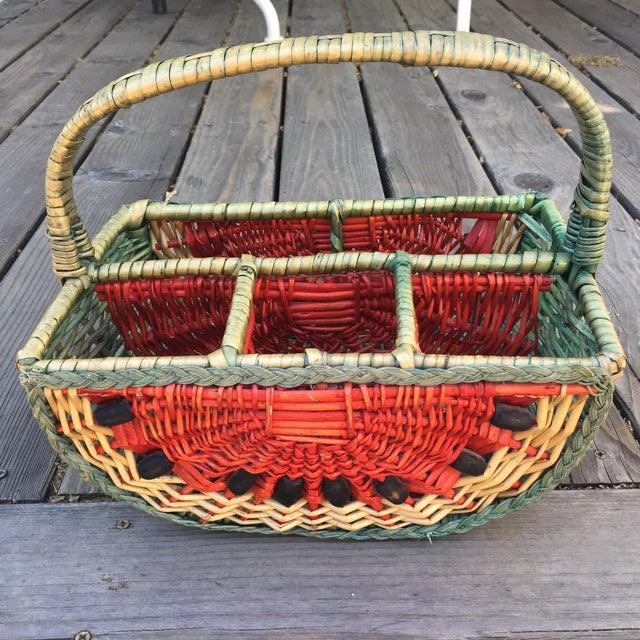 Boho Chic 1970s Vintage Watermelon Basket For Sale - Image 3 of 6