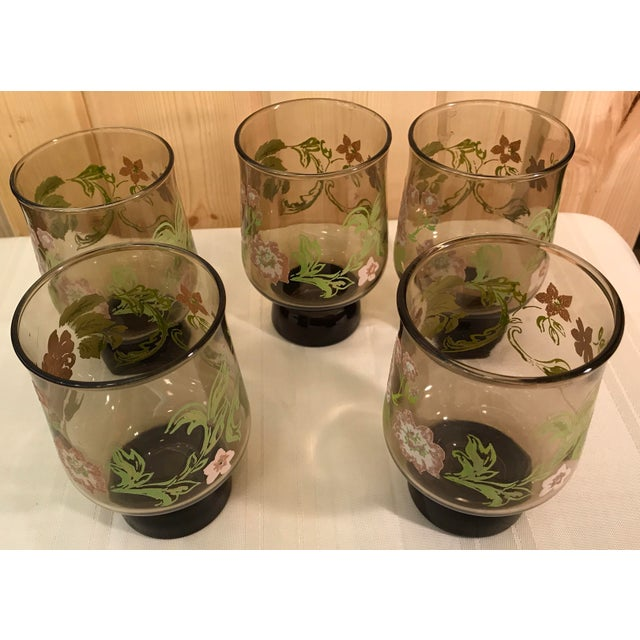 Mid-Century Modern Smoked Glasses With Embossed Design - Set of 5 For Sale - Image 5 of 11