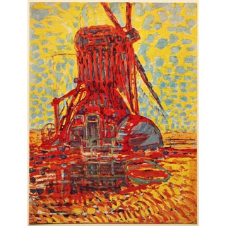 """1958 After Piet Mondrian """"Mill in the Sunlight"""" Vintage Full Color Print From England For Sale"""