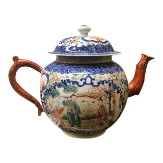 Antique Chinese Famille Rose Export Tea Pot For Sale