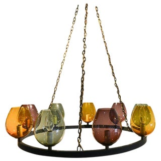 1970s Colored Blown Glass and Round Metal Chandelier For Sale