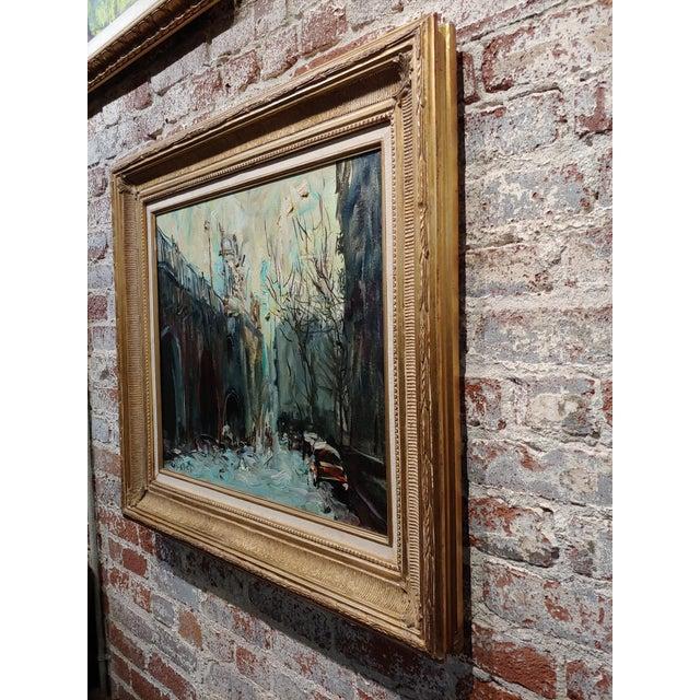 Canvas Kosinski - City Street Siding a Bridge - Oil Painting For Sale - Image 7 of 10