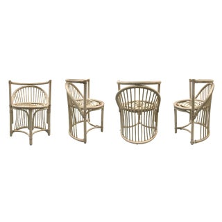 Vintage Rattan Curved-back Chairs - Set of 4