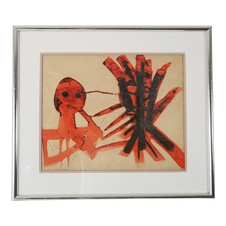 Vintage Surrealist Abstract Watercolor on Paper Painting For Sale
