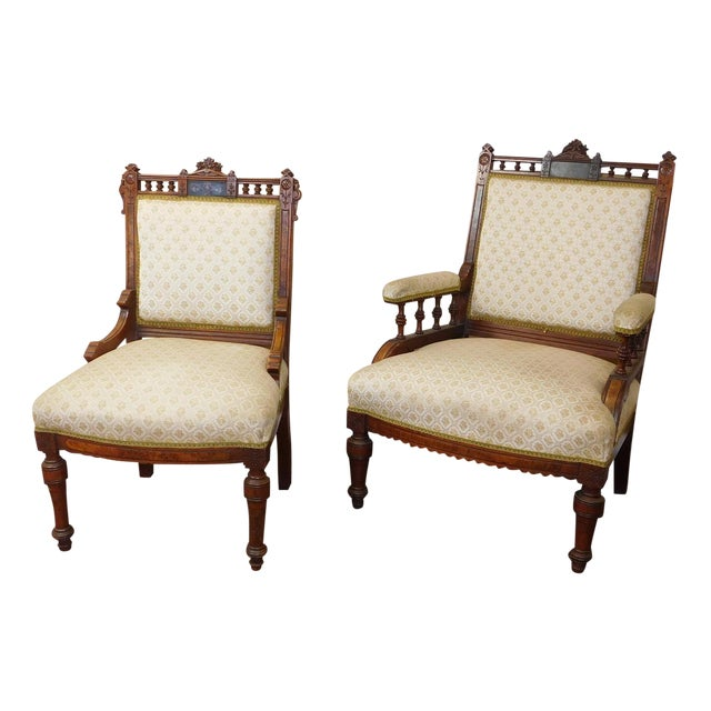 His & Her Victorian Renaissance Chairs - Pair - Image 1 of 11