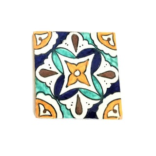 Hand Painted Small Moroccan Decorative Cement Tile For Sale