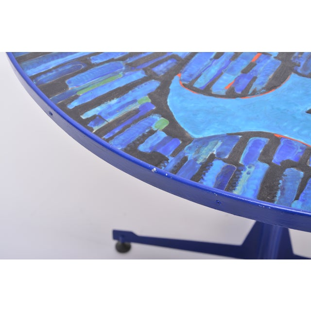 Copper Tall Blue Italian Midcentury Dining Table With Enameled Copper Top, 1950s For Sale - Image 7 of 9