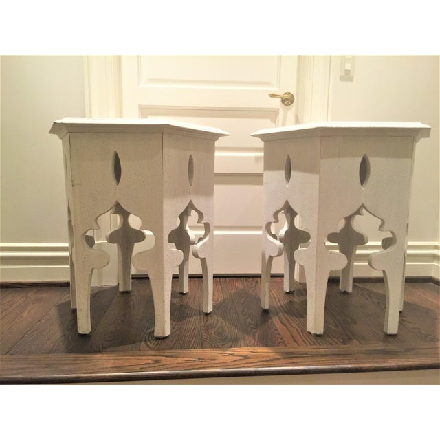 Moroccan Style White Wooden End Tables - a Pair - Image 10 of 10