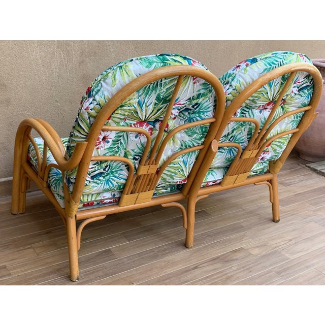 Mid-Century Modern Italian Mid-Century Modern Bamboo Set of Lounge Patio With Settee and Rocking For Sale - Image 3 of 11