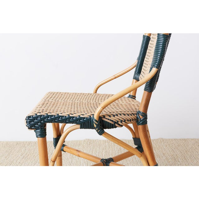 Late 20th Century Pair of Palecek Bamboo Rattan Bistro Cafe Chairs For Sale - Image 5 of 13