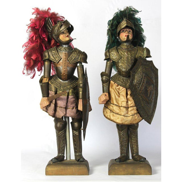 A charming pair of mid-19th century. Sicilian marionettes dressed in full suit of armor complete with brightly colored...