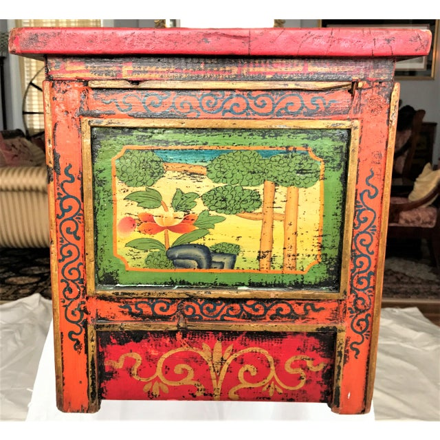Wood Antique Hand Painted Tibetan Chest For Sale - Image 7 of 10
