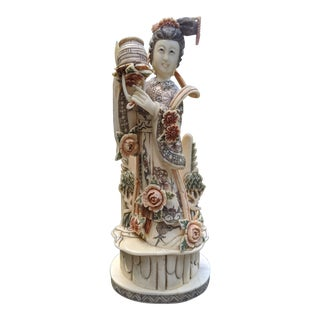 Chinese Hand-Carved Woman Traditional Flower Dress in Mountain Landscape Statuette/Figurine For Sale