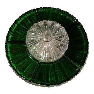 Anchor Hocking Forest Green Depression Glass Old Cafe Lazy Susan For Sale