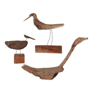 Collection of Driftwood Shore Bird Sculptures, Gloucester, Ma, Circa 1960s-1970s - Set of 3 For Sale