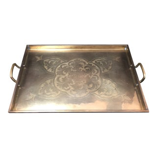 Vintage Brass Etched Serving Tray For Sale