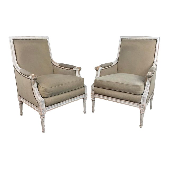 Pair 19th Century French Louis XVI Bergeres ~ Armchairs For Sale