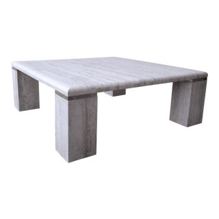Vintage Square Italian Travertine Coffee Table For Sale