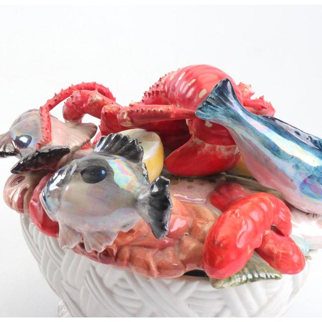Mid 20th Century Mid-Century Majolica Style Ceramic Lobster and Fish Covered Dish For Sale - Image 5 of 8