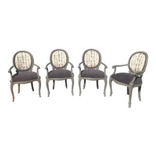Louis XVI Custom Faux Bois Rope Chairs -Set of 4 For Sale